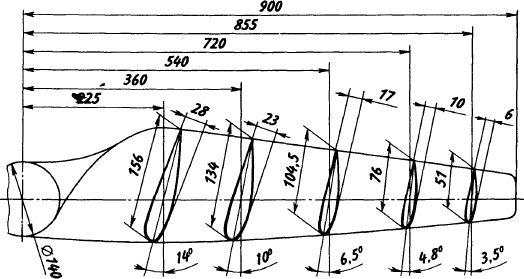 Геометрическая схема двухлопастного ветроколеса.